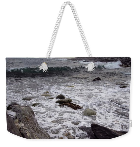 Weekender Tote Bag featuring the photograph Clouds And Waves At Pemaquid Point, Bristol, Maine -60104 by John Bald