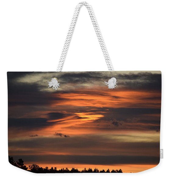 Weekender Tote Bag featuring the photograph Clouds At Dawn Over Ridge by Margarethe Binkley