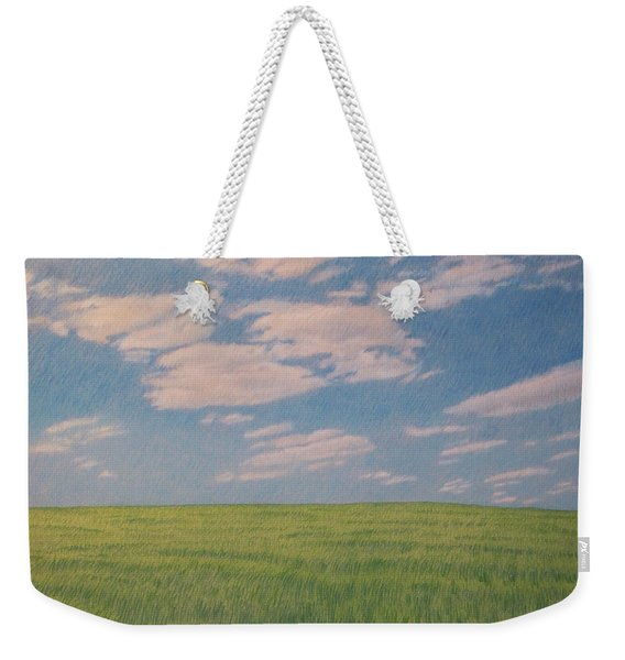 Weekender Tote Bag featuring the drawing Clouds Over Green Field by Cris Fulton