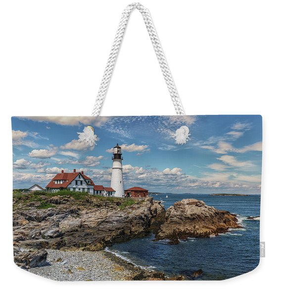 Clouds Over Portland Head Lighthouse Weekender Tote Bag