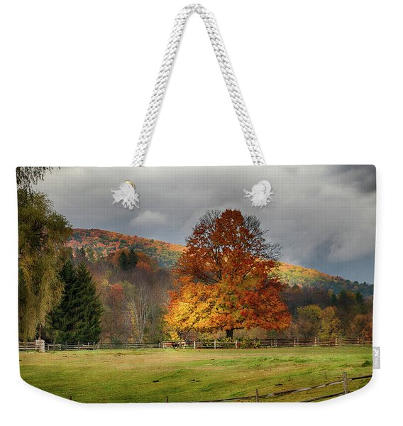 Weekender Tote Bag featuring the photograph Clouds Part Over Marsh Billings-rockefeller Nhp by Jeff Folger