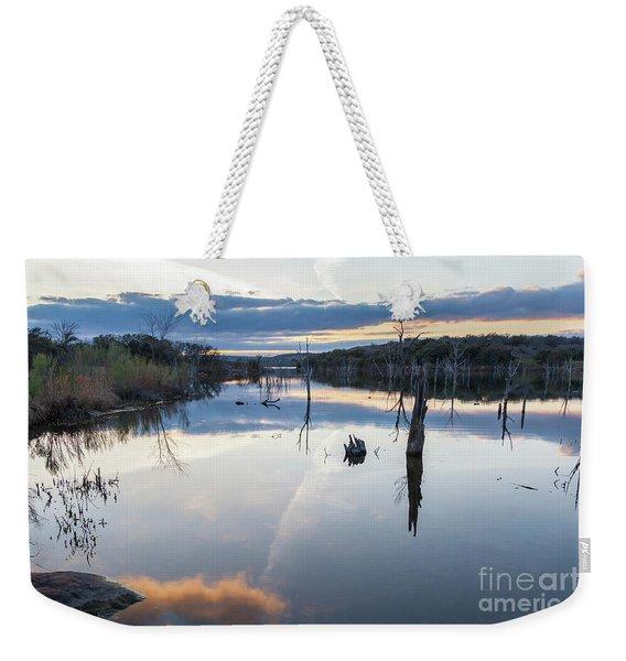 Clouds Reflecting On Large Lake During Sunset Weekender Tote Bag