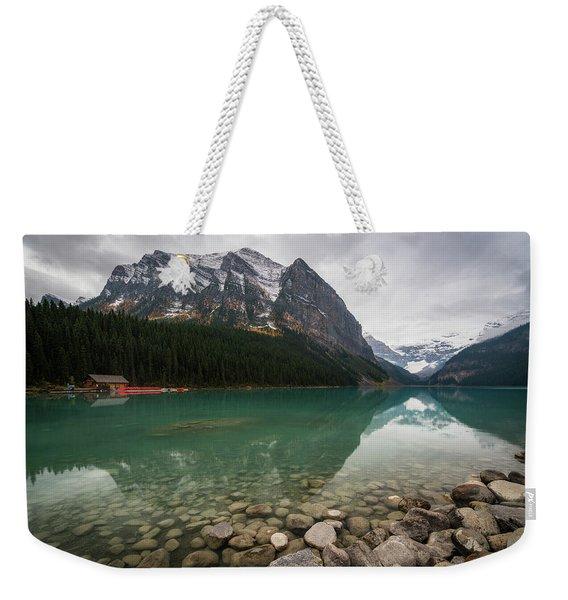 Cloudy Fall Day At Lake Louise Weekender Tote Bag