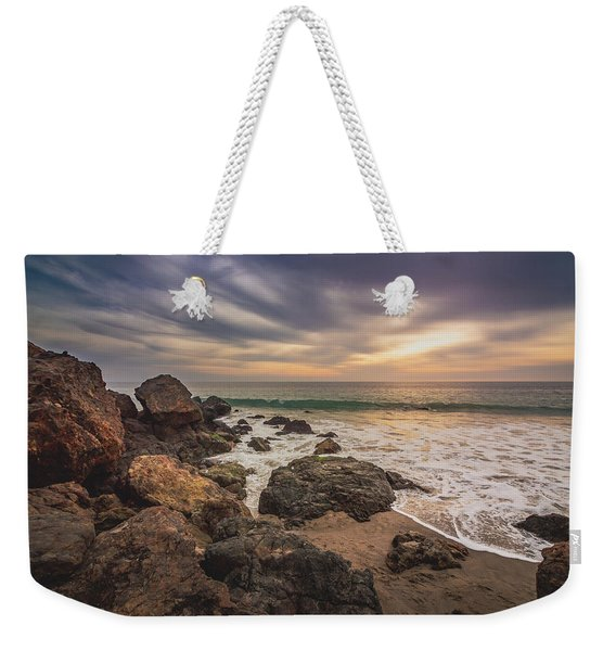 Weekender Tote Bag featuring the photograph Cloudy Point Dume Sunset by Andy Konieczny