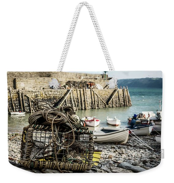 Weekender Tote Bag featuring the photograph Clovelly Crab Trap by Nick Bywater