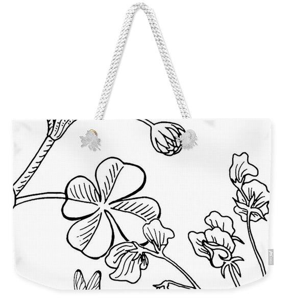 Clover Sweet Pea Ladybug And Bee Drawing Weekender Tote Bag