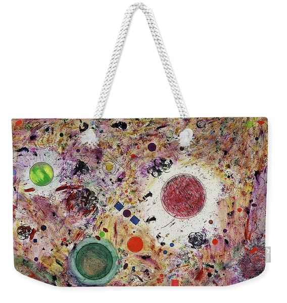 Weekender Tote Bag featuring the painting Cluster Of Love by Michael Lucarelli