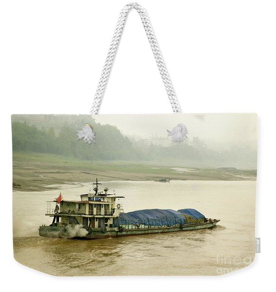 Coal Freighter On The Yangtze Weekender Tote Bag