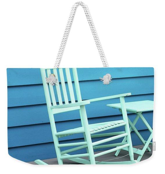 Coastal Beach Art - Blue Rocking Chair - Sharon Cummings Weekender Tote Bag
