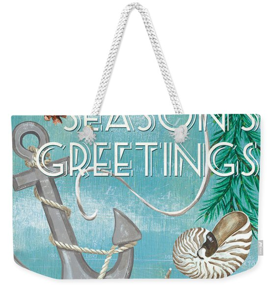 Coastal Christmas Card Weekender Tote Bag