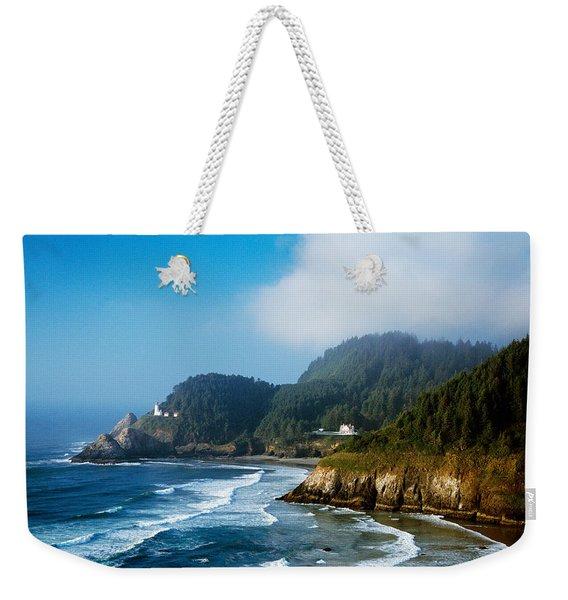 Coastal Scene In Mist With Heceta Head Weekender Tote Bag