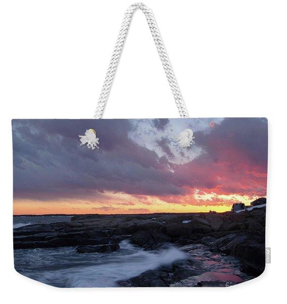 Coastal Sunset Cape Neddick - York Maine  -21056 Weekender Tote Bag