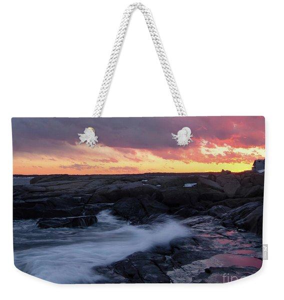 Weekender Tote Bag featuring the photograph Coastal Sunset, Cape Neddick, York, Maine  -21056-v2 by John Bald