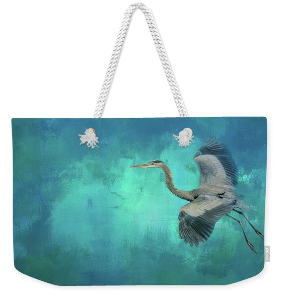 Coasting Blue Heron Bird Art Weekender Tote Bag