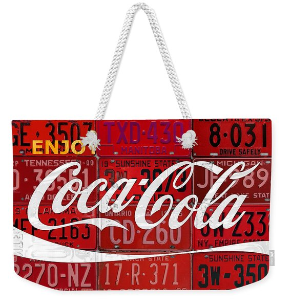 Coca Cola Enjoy Soft Drink Soda Pop Beverage Vintage Logo Recycled License Plate Art Weekender Tote Bag