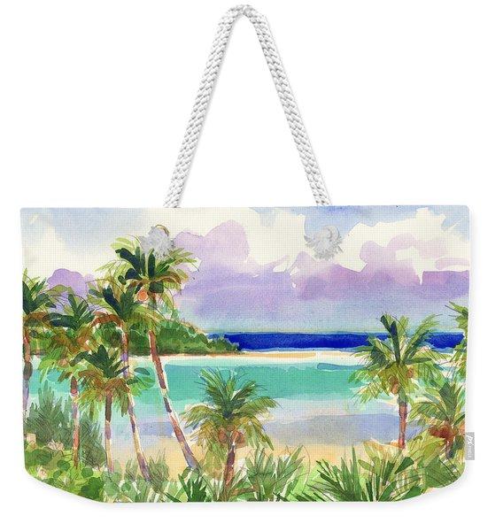 Coconut Palms And Lagoon, Aitutaki Weekender Tote Bag