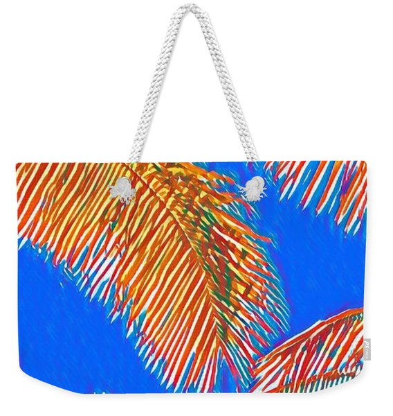 Coconut Palms In Red And Blue Weekender Tote Bag