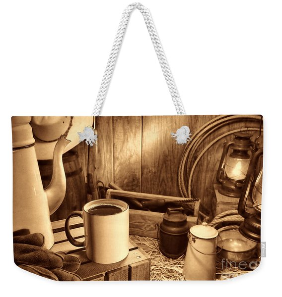 Coffee Break At The Chuck Wagon Weekender Tote Bag