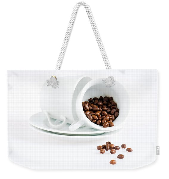 Coffee Cups And Coffee Beans  Weekender Tote Bag