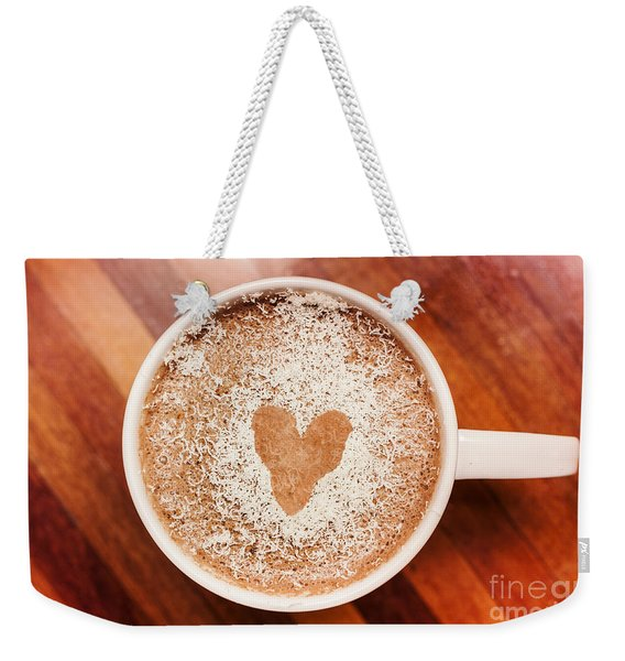 Coffee Love. White Coffee Cup On Wooden Background Weekender Tote Bag