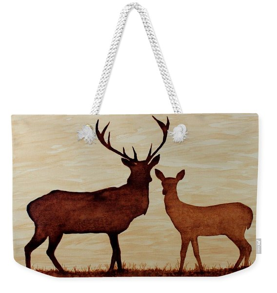 Coffee Painting Deer Love Weekender Tote Bag