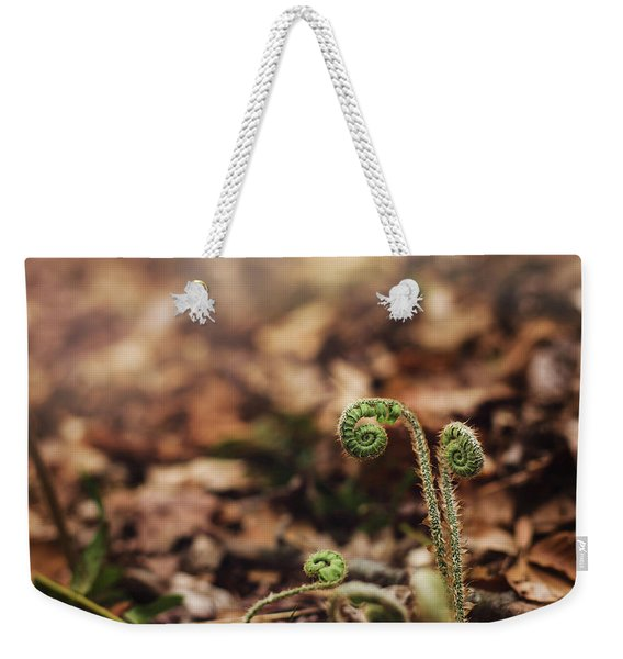 Coiled Fern Among Leaves On Forest Floor Weekender Tote Bag