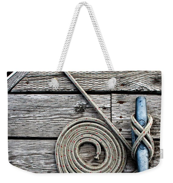Coiled Mooring Line And Cleat Square Version Weekender Tote Bag