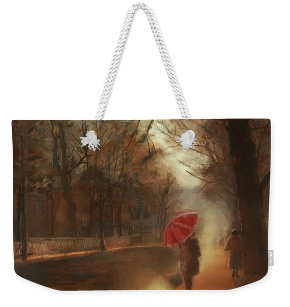 Cold Autumn Morning Painting Weekender Tote Bag