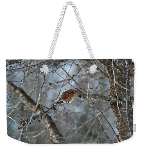 Cold Female Red Bird Weekender Tote Bag