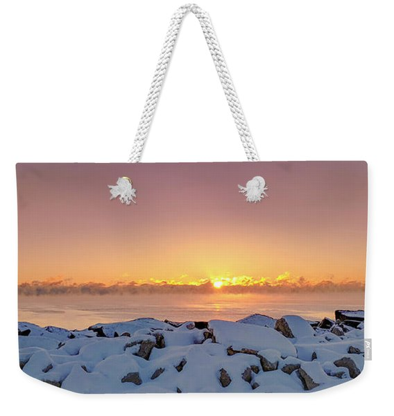 Cold Winter Sunrise Weekender Tote Bag