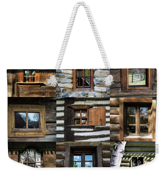 Collage From Handmade Traditional Wooden  Windows In Village Museum Bucharest Weekender Tote Bag