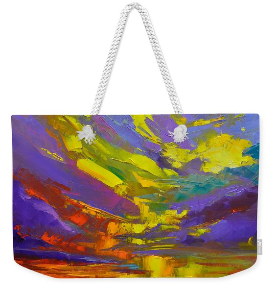 Coloful Sunset, Oil Painting, Modern Impressionist Art Weekender Tote Bag