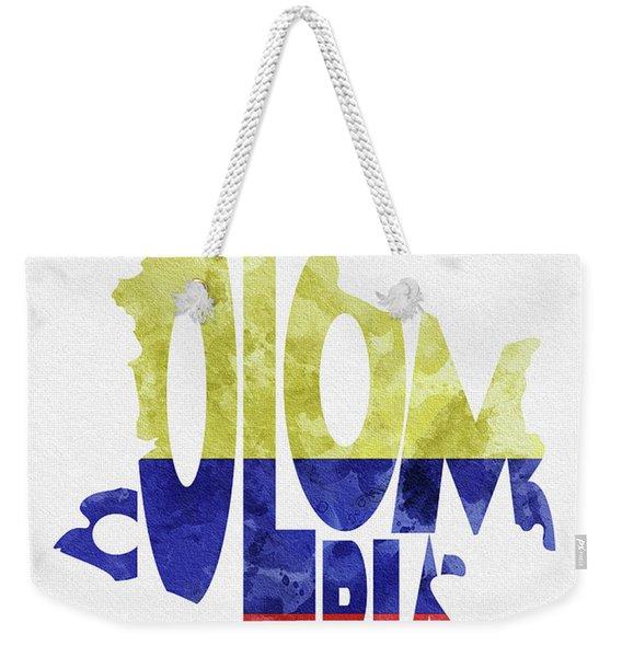 Colombia Typographic Map Flag Weekender Tote Bag
