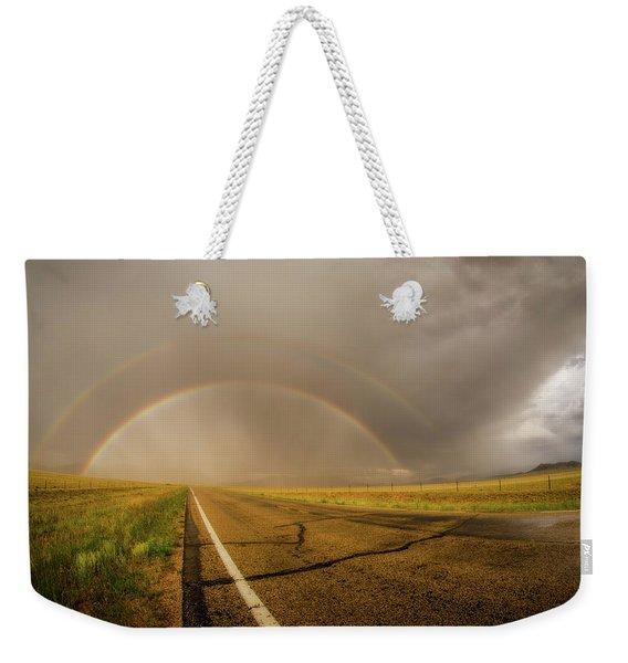 Colorado Double Rainbow Weekender Tote Bag