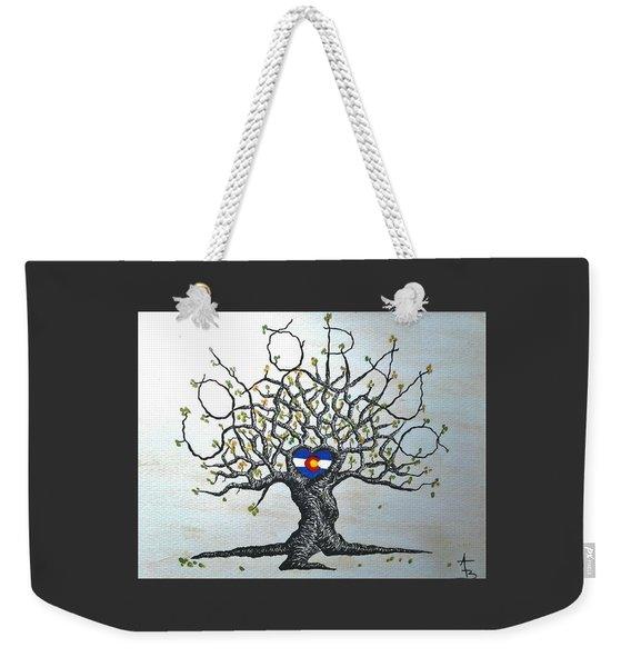 Weekender Tote Bag featuring the drawing Colorado Flag Love Tree by Aaron Bombalicki