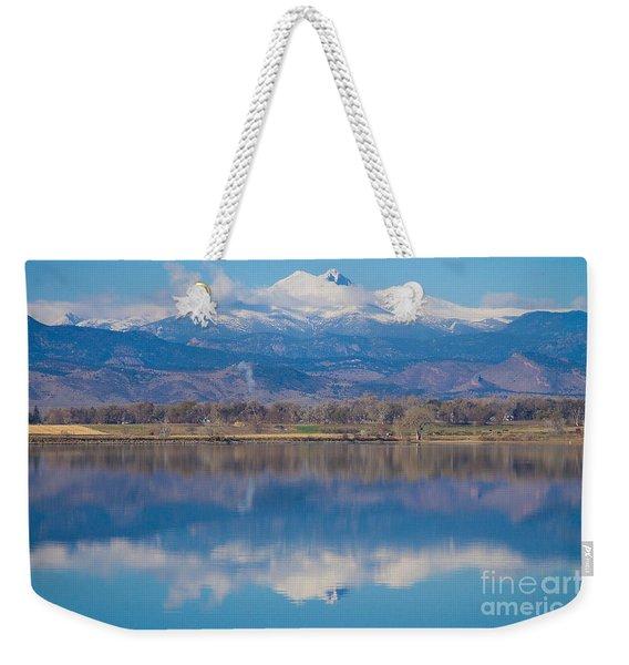 Colorado Longs Peak Circling Clouds Reflection Weekender Tote Bag