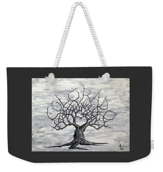 Weekender Tote Bag featuring the drawing Colorado Love Tree Blk/wht by Aaron Bombalicki