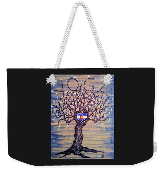 Weekender Tote Bag featuring the drawing Colorado Yoga Love Tree by Aaron Bombalicki