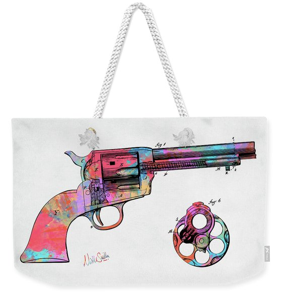 Colorful 1875 Colt Peacemaker Revolver Patent Minimal Weekender Tote Bag