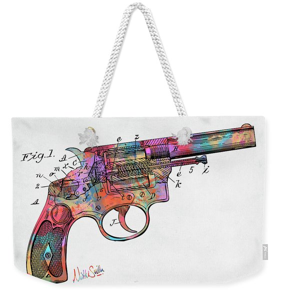 Colorful 1896 Wesson Revolver Patent Weekender Tote Bag