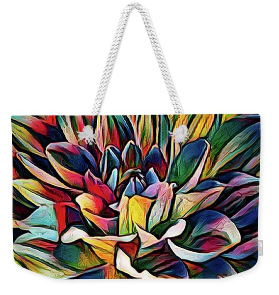 Colorful Abstract Dahlia Weekender Tote Bag