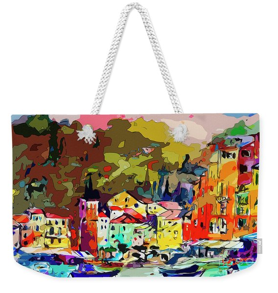 Colorful Abstract Italy Portofino Impression Weekender Tote Bag