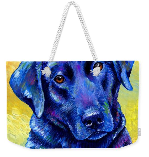 Colorful Black Labrador Retriever Dog Weekender Tote Bag