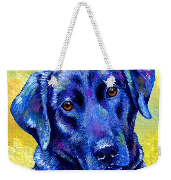Colorful Black Labrador Retriever Dog Weekender Tote Bag
