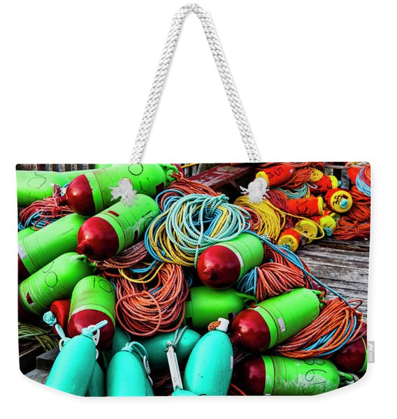 Colorful Buoys On The Wharf, Peggy's Cove Weekender Tote Bag
