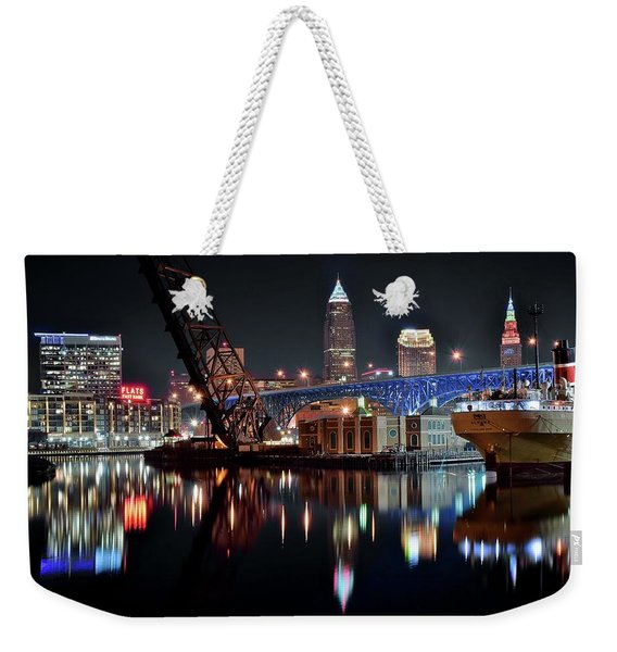 Colorful Cleveland Flats Weekender Tote Bag