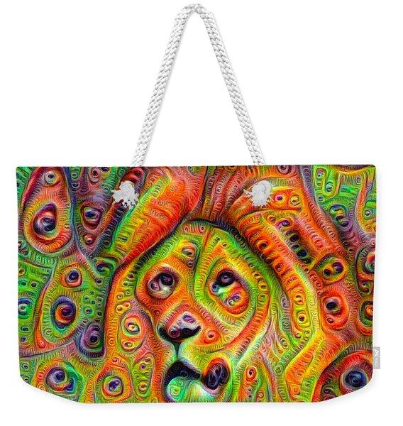Colorful Crazy Lion Deep Dream Weekender Tote Bag