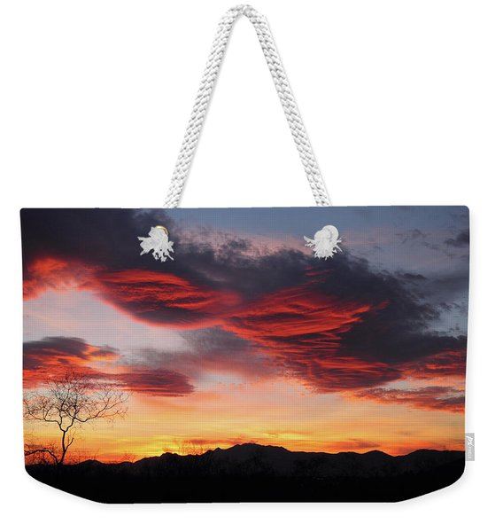 Colorful Dawn Over New Mexico's Peloncillo Mountains Weekender Tote Bag