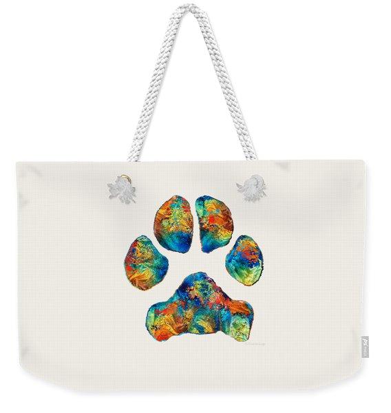 Colorful Dog Paw Print By Sharon Cummings Weekender Tote Bag