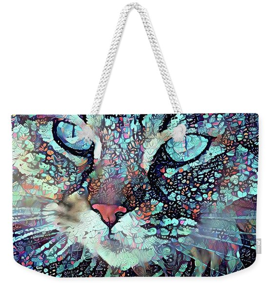 Colorful Flower Cat Art - A Cat Called Blue Weekender Tote Bag